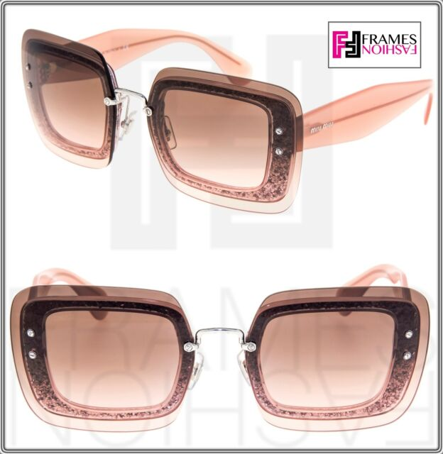 6a0d8095fd4e MIU MIU REVEAL Sunglasses MU01RS Transparent Nude Pink Glitter Brown Mirror  01R
