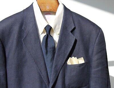 Polo University Club 42 L Gent's Navy Blue Linen 3-Button Blazer - Patch Pockets