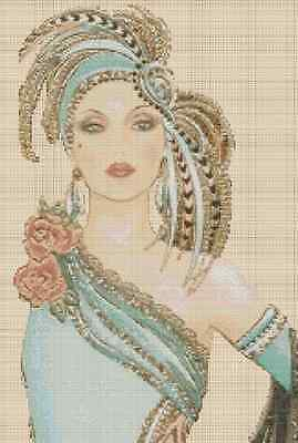 Counted Cross Stitch ART DECO LADY in Mint Green - COMPLETE KIT No.12cv-82 KIT