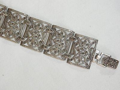 Motiviert Breites Art Déco 925 Silberarmband Mit Markasiten
