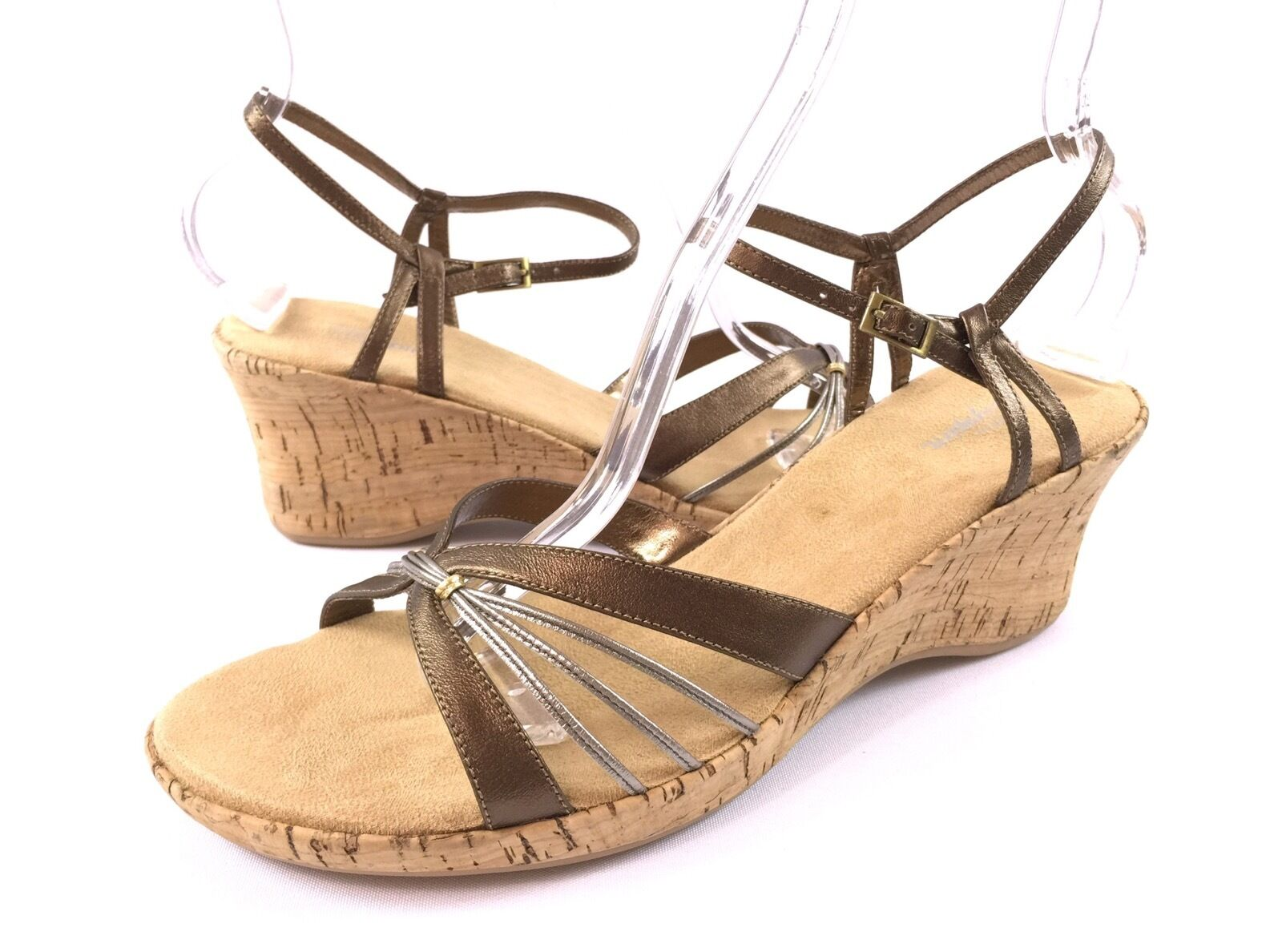 Easy Spirit Womens 10M Bronze Thing Strappy Leather Cork Wedge Sandals shoes
