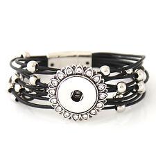 "Snap It Magnetic Bracelet  (7 1/2"")  Fit Snaps Style Buttons (Black)"