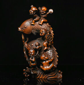 7-034-Chinese-Folk-Collect-Boxwood-wood-Carve-TongZi-boy-ride-fish-lucky-Statue