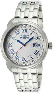New-Mens-Invicta-15356-Silver-Dial-Blue-Hands-Arabic-Numerics-43mm-Classic-Watch
