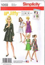 Vtg 60s Retro Jiffy V Neck Dress Sash Simplicity Pattern Plus Sz 14 16 18 20 22