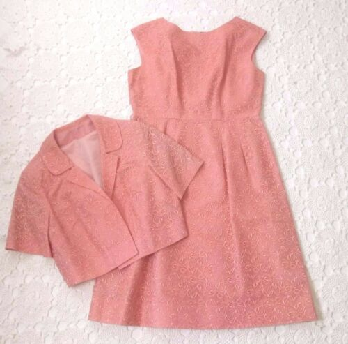 Vtg 50s 60s women Large Pink Lace Fit Flare Dress