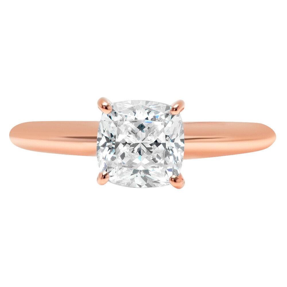 2.7ct Cushion Cut Designer Bridal Engagement Promise Ring Solid 14k pink gold
