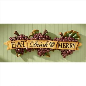 Italian Eat Drink And Be Merry Grape Laden Kitchen Wall Plaque Sculpture Ebay