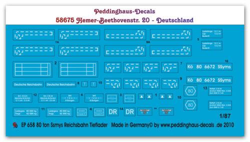 Peddinghaus  1/87 0658 80 ton Ssyms Decals
