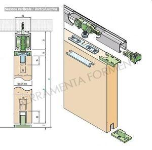 BINARIO KIT PER PORTA SCORREVOLE CM 170 + accessori portata KG 70 | eBay