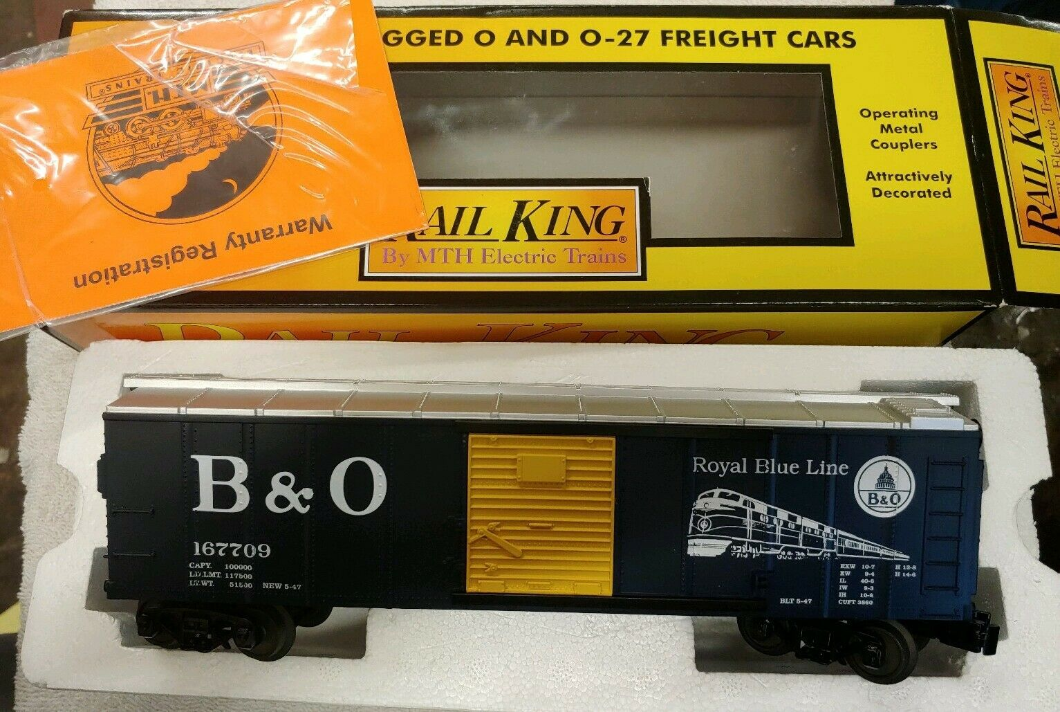 MTH, RAILKING  30-74555, BALTIMORE & OHIO BOX CAR. (12i)