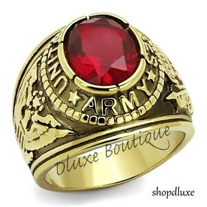Men-039-s-14k-Gold-Plated-Siam-Red-United-States-US-Army-Military-Ring-Size-8-14