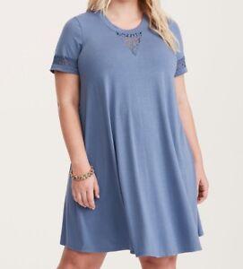 e70d80eceb4 Torrid Light Blue Lace Inset Trapeze Dress 00X Med Large  58864