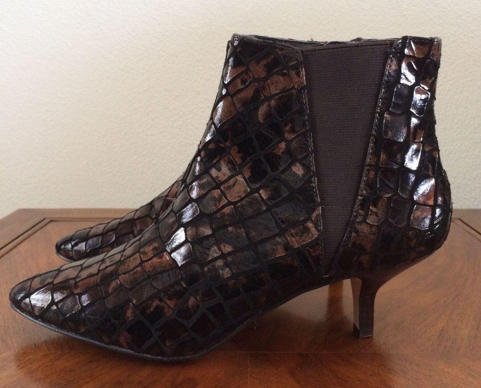 Donald J Pliner Geeo Embossed Metallic Leather Boots Booties Womens Size 6.5