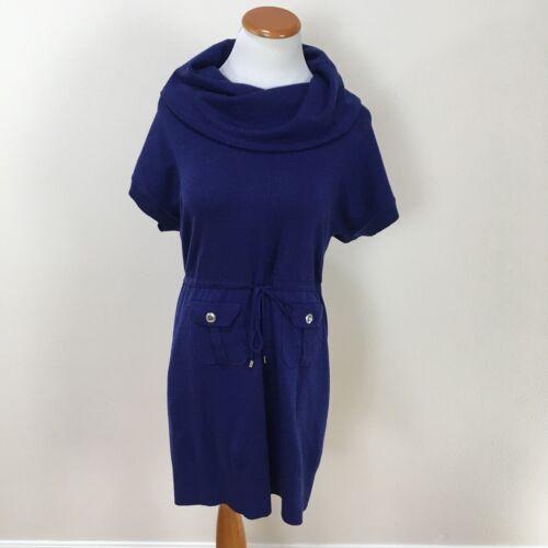 Karen Millen Blue Cowl Neck Wool Blend Knit Tie Wa