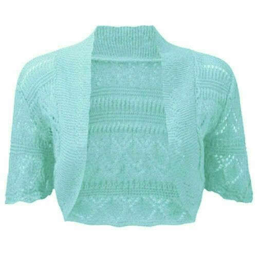 New Ladies Women Girls Crochet Knitted Short Sleeve Shrug Cardigan Bolero Top