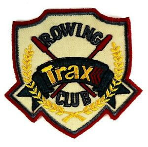 Vintage-Rowing-Trax-Club-Souvenir-Woven-Embroidered-Cloth-Sew-On-Patch-Badge