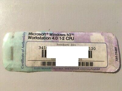 MICROSOFT WINDOWS NT WORKSTATION 4.0 1-2 CPU W//KEY