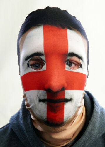 Six Nations England St George/'s Flag Design Full Face Mask Fabric Fancy Dress
