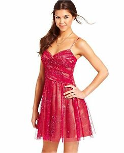 7af302c9482 Hailey Logan ~ Pink Glitter Mesh Semi Formal Dress Juniors 15  16 ...