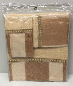 Marquis 3 Piece Bath Towel, Hand Towel and Wash Cloth Set, Gold