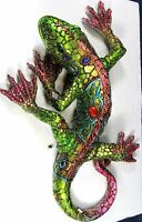 Green Lizard Wall Art With Jewel And Mirror Accents Wildlife Decor