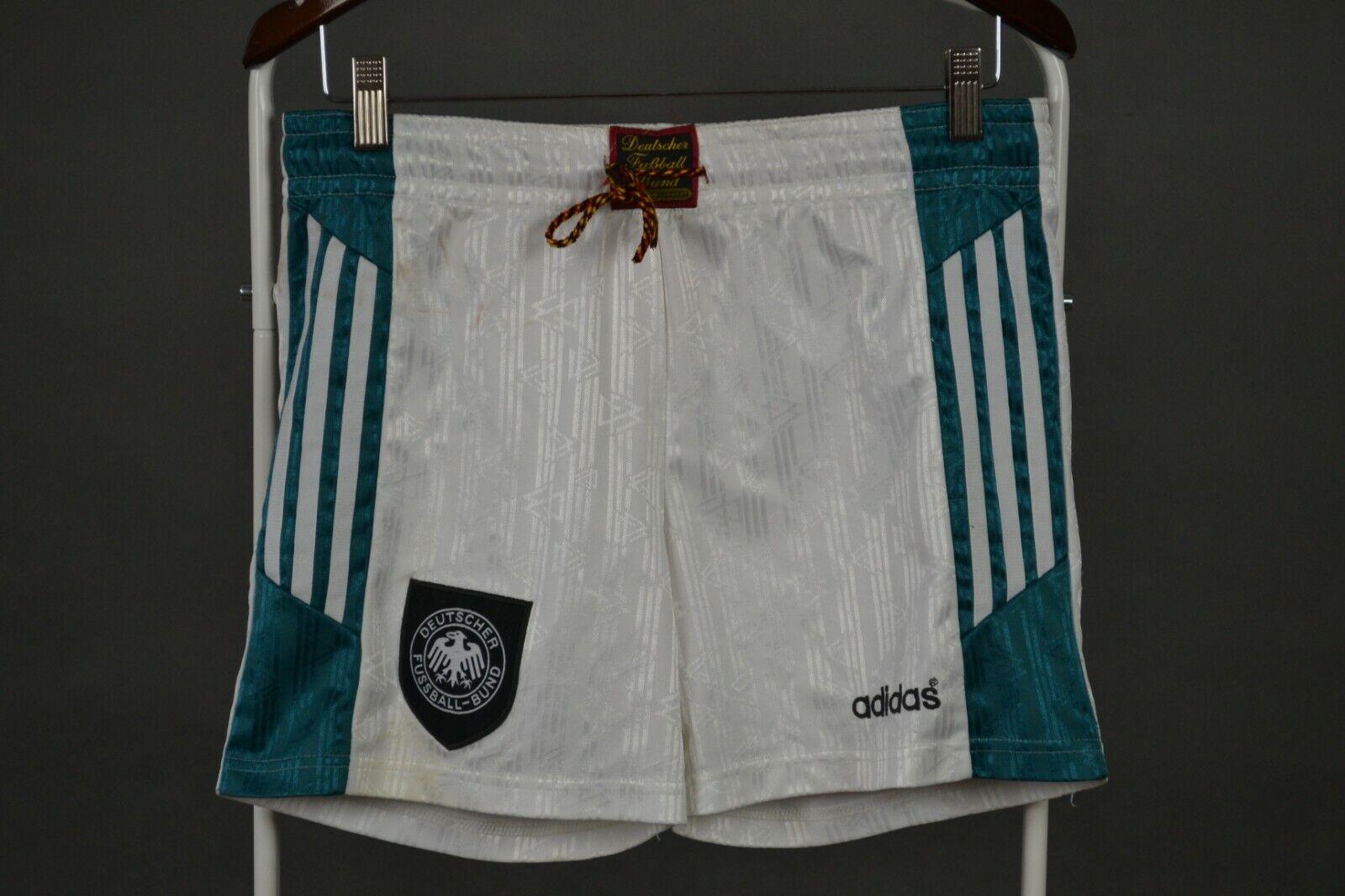 RARE Tyskland Home 1996 1998 Adidas vit Vuxes S SMALL Shorts Football vintage
