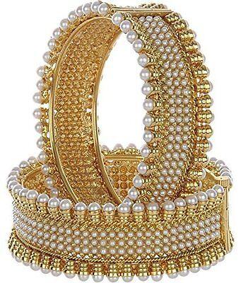 Indian Bollywood Designer 18K Pearl Royal Bridal Women Party Bangle Bracelet Set