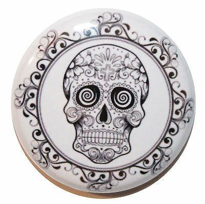 """1"""" (25mm) Mexican Sugar Skull Button Badge Pin - High Quality Print & Made in UK"""