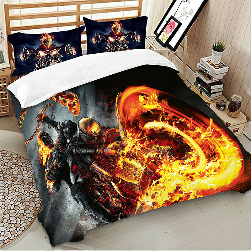 Ghost Rider Quilt Duvet Doona Cover Set Single//Double//Queen//Super King Size Bed