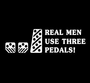 Real-Men-Use-Three-Pedals-WHITE-Sticker-25cm-racing-turbo-JDM-import-drift-car-3