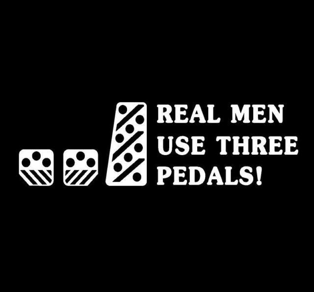 Real Men Use Three Pedals WHITE Sticker 25cm racing turbo JDM import drift car 3