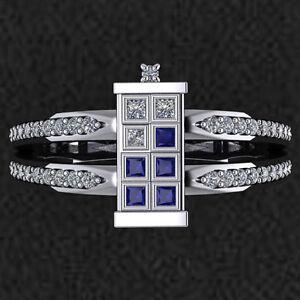 Elegant Doctor Who Tardis 925 Sterling Silver Engagement Wedding