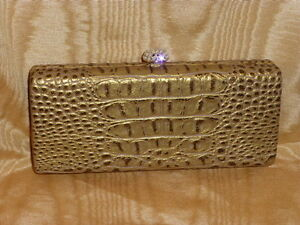 Embossed-Subtle-Gold-Faux-Leather-Minaudiere-With-Elegant-Crystal-Clip-New