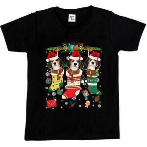 1Tee Kids Girls Christmas Stockings with Adorable Dachshund Dogs T-Shirt