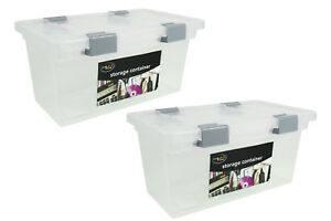 2x-Storage-Container-Box-Set-Lid-Airtight-Clip-Lock-Desk-Home-Office-Spacesaver