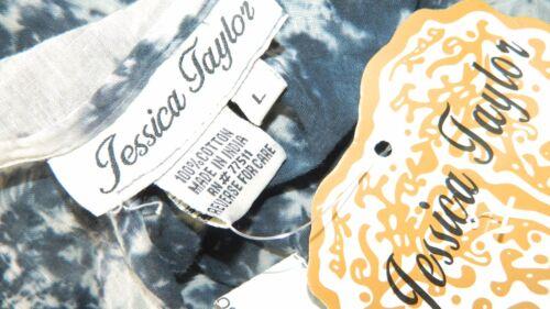 Jessica Taylor Women Size L XL Charcoal Blue Tie Dye Blouse Top Sequin Shirt