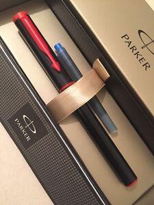 NEW PARKER BETA BLACK & RED FINE NIB FOUNTAIN PEN-PARKER GIFT BOX. zgDTVI5f-09094456-170383414