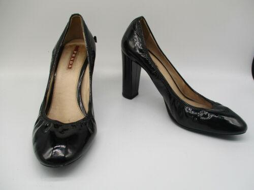PRADA black patent leather scrunch block heel pump