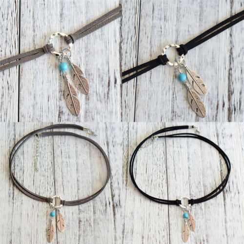 Fashion Bohemian Feather Pendant Necklace Choker Necklace Charm Boho Jewelry FG