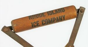 ANTIQUE-RHODE-ISLAND-ICE-COMPANY-WOOD-HANDLE-ICE-BLOCK-TONGS-COMMERCIAL-GRADE