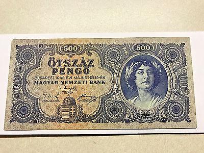 1945 Hungary UNC P 117x 500 pengo error incorrectly spelled NЯТЬСОТ