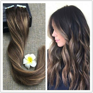 Ombre balayage tape in skin weft remy human hair extensions image is loading ombre balayage tape in skin weft remy human pmusecretfo Image collections
