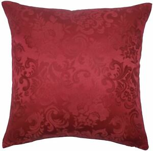 JACQUARD-FLORAL-DAMASK-WINE-RED-18-034-45CM-CUSHION-COVER-TO-MATCH-CURTAINS
