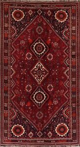 Vintage-Geometric-Abadeh-Area-Rug-Wool-Hand-Knotted-Oriental-Nomad-Carpet-7-039-x11-039