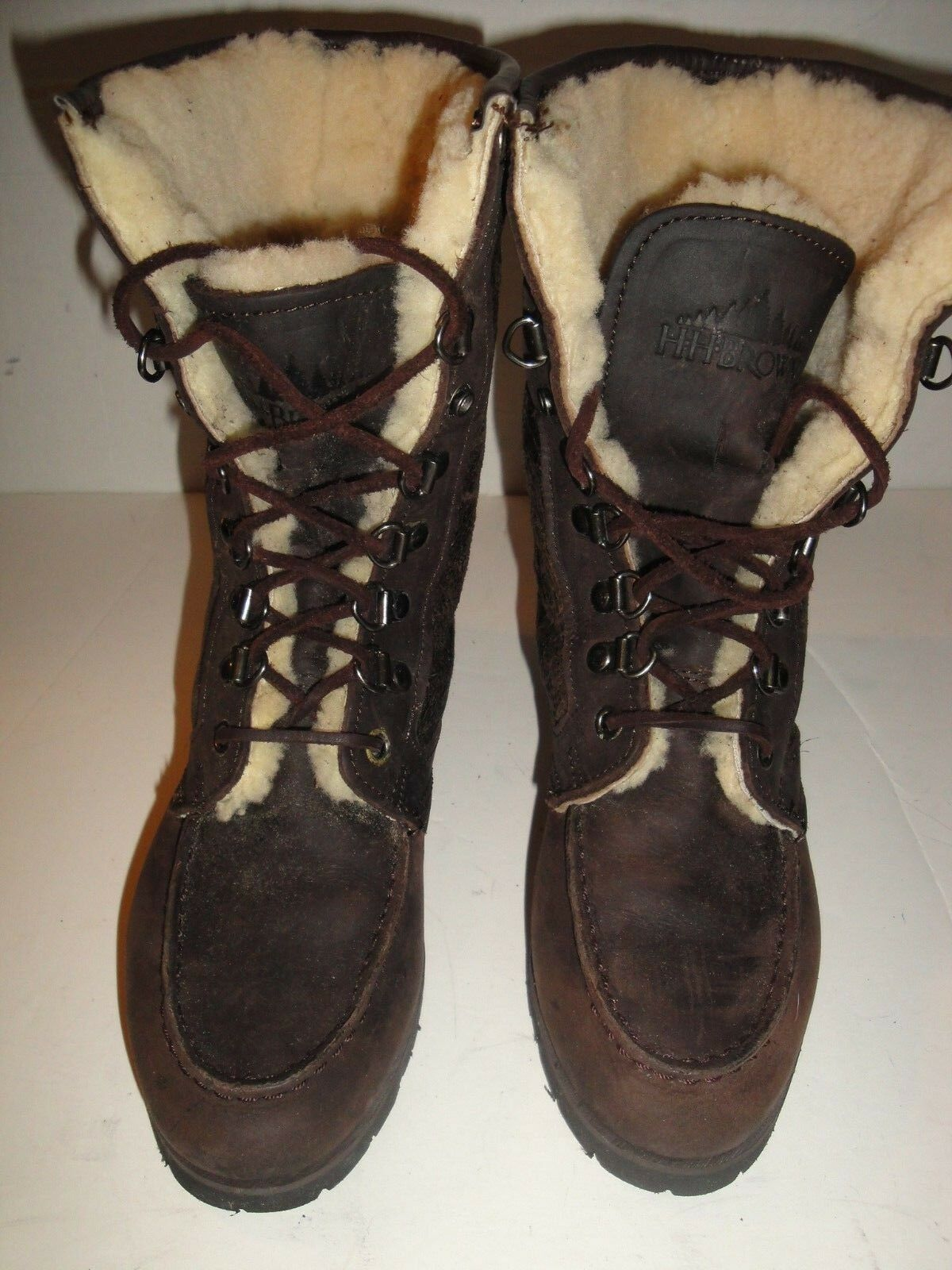 H.H.B. BROWN LEATHER BOOT SHEEPSKIN LINED WOMENS SHOE SIZE 6.5 M