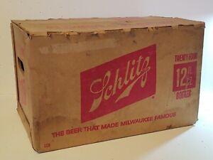 Vintage-1970-039-s-Schlitz-Beer-Case-w-11-EMPTY-Bottles-Holds-24-12-FL-OZ-Bottles