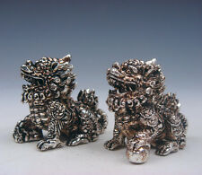 Pair Tibetan Silver Copper Crafted Furious Feng-Shui Monster Kylin #02061602