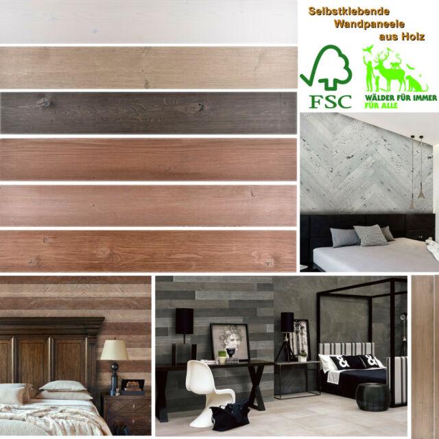 WANDPANEELE HOLZ SELBSTKLEBEND Wandverkleidung Holzwand Fliesenspiegel Küche