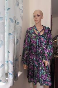 fdd28ef032154c Pink Clove Floral Printed Swing Dress Scarf Neck 22 26 Purple/Multi ...